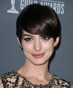 Anne Hathaway Hairstyle - Formal Short  Straight Hairstyle