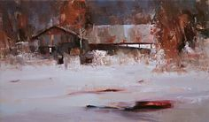 """Winter Time by Tibor Nagy, Oil on linen ~ 11.8"""" x 19.7"""""""