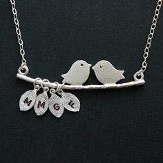 Initial necklace  Love Birds on branch with 4 initial by DelicacyJ, $36.00