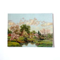 Vintage 1940s Lithograph  Country Cottage in by YELLandPANIC