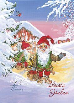 Christmas Time, Christmas Cards, Gnomes, Troll, Illustration, Painting, Vintage, Art, Inge Look