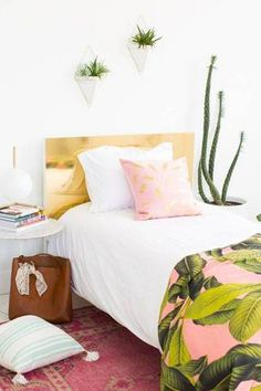 DIY your own faux brass headboard.