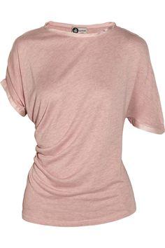 Lanvin|Draped silk-trimmed jersey T-shirt|NET-A-PORTER.COM