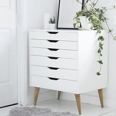 Great idea to get that mid-century look with any chest of drawers or bookcase even!