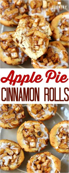 Easy Apple Pie Cinnamon Rolls recipe from The Country Cook #breakfast #desserts #ideas #apples #cinnamonrolls