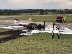 PHOTO Cessna 402 (ZU-TVB) is destroyed by fire after crash landing at Lanseria Airport, South Africa. 3 injured. (13-DEC-2016). @jour_maine