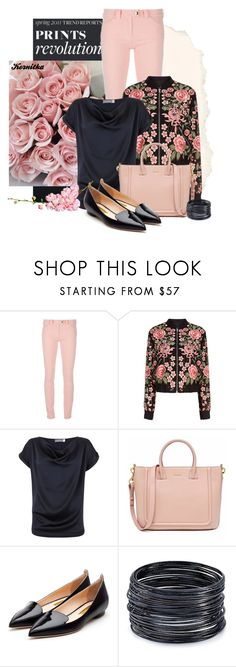 """""""nr 996 / Flower Print Jacket"""" by kornitka ❤ liked on Polyvore featuring Balenciaga, Needle & Thread, Mint Velvet, Rupert Sanderson and ABS by Allen Schwartz"""