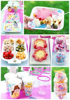 Fun Party Food: Sandwiches On A Stick, Fruit Flowers and Sprinkle Rimmed Cups