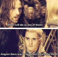Ok, from the other people's point of view: Legolas: Elvish elvish elvish. Legolas: Shouting in elvish. Aragorn: Then I shall die as one of them! Yeah, way to go Aragorn. Jrr Tolkien, Martin Freeman, O Hobbit, Hobbit Funny, Into The West, Elvish, Bilbo Baggins, Thorin Oakenshield, Middle Earth