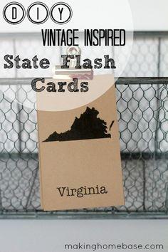 DIY Vintage State Flash Cards