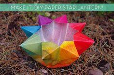 passengers on a little spaceship: video tutorial: paper star lantern waldorf crafts Origami Paper, Diy Paper, Paper Art, Paper Crafts, Origami Bowl, Diy Origami, Folded Paper Stars, Paper Star Lanterns, Waldorf Crafts