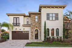Beautiful Tuscan-inspired Bella Collina home from Legacy Custom Built Homes. Rustic Houses Exterior, Modern Farmhouse Exterior, Exterior House Colors, Exterior Design, Exterior Paint, Mediterranean Homes Exterior, Mediterranean Home Decor, Spanish Exterior, Tuscan Style Homes