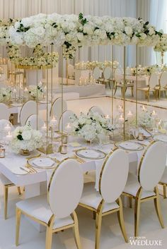 Tall White Wedding Floral centerpieces White Wedding Reception Chairs White and Gold Wedding Source by PinkPoppyWeddings The post Tall White Wedding Floral centerpieces White Wedding Reception Chairs White an& appeared first on Trendy. White Wedding Decorations, Luxury Wedding Decor, Wedding Table Centerpieces, Floral Centerpieces, Reception Decorations, Ivory Wedding Decor, Centrepiece Ideas, Reception Ideas, All White Wedding