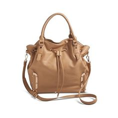 Women's Solid Tote Handbag with Drawstring Closure - Natural ($50) ❤ liked on Polyvore