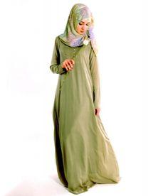 Sea Shells Abaya ~ colour of both abaya & hijab. Preferably d sleeves shd be much looser n d hijab shd be flowy n worn down d arms n below d bosom area