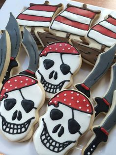 Custom hand decorated cookies made in Kelowna, B. Fancy Cookies, Iced Cookies, Cute Cookies, Royal Icing Cookies, Sugar Cookies, Apple Cookies, Pirate Birthday, Pirate Theme, Pirate Party