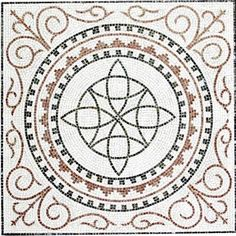 Centro de mosaico romano para suelos Ref. MTG001 de 105x105cm.