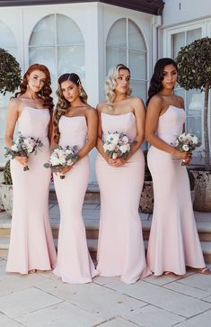 - Blush Strapless Maxi Dress - Boned Bodice- High Peaks at Bust - Fitted Design- Floor Sweeper Length- Invisible Centre Satin Bridesmaid Dresses, Blue Bridesmaids, Wedding Bridesmaids, Bridesmade Dresses, Destination Bridesmaid Dresses, Blush Dresses, Lace Dresses, Prom Dresses, Strapless Wedding Dresses