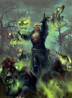 Necromancer by vityso on DeviantArt High Fantasy, Dark Fantasy Art, Fantasy Artwork, Fantasy World, Character Concept, Character Art, Concept Art, Character Ideas, Dark Art Drawings