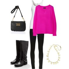 """""""Oversized Pink Sweater Outfit"""" by thieli02 on Polyvore"""