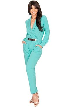 KOH KOH Plus Size Womens Long Sleeve with Sleeves Formal V-neck Cocktail Sexy Sun Jumpsuit Jumpsuits Pant Pants Suit Suits Romper Rompers Playsuit Playsuits for Women, Turquoise XL 14-16 (2) -- Check out the image by visiting the link. (This is an affiliate link) #happiest