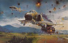 'Phantom Strike', by Robert Taylor Phantom II, Vietnam War) Air Fighter, Fighter Pilot, Fighter Aircraft, Fighter Jets, Military Jets, Military Aircraft, F4 Phantom, Aircraft Painting, Airplane Art