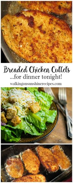 An easy recipe for Italian style breaded chicken cutlets that you can enjoy for dinner or use to make chicken Parmesan from Walking on Sunshine.