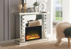 The Ashley Fireplace has modern glam style design, finished in mirror featuring a touch panel with adjustable temperature timer. Matching Mirror Available Fireplace: x x Twin Bedroom Sets, Queen Bedroom, Acme Furniture, Office Furniture, Fireplace Mirror, Mattress Sets, Wood Detail, Electric Fireplace, Dining Room Sets