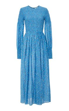 Beacon Smocked Cotton and Silk-Blend Maxi Dress by Ganni | Moda Operandi