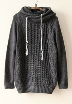 Grey Plain Lotus Collar Long Sleeve Acrylic Sweater -- I might get this and wear it every day during the winter! So comfy!