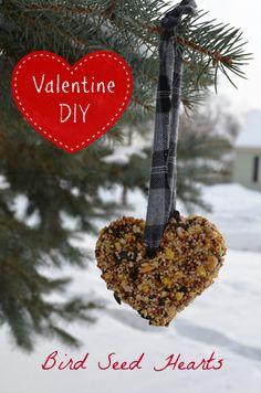Valentine Bird Feeder Hearts DIY