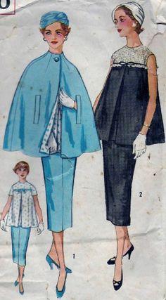 Vintage 60s MATERNITY Dress & Cape Sewing Pattern 2010 B36 16