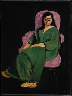 desimonewayland:  Henri Matisse: Laurette in a Green Robe, Black Background 1916 Between December 1916 and the close of 1917, Matisse painted at least twenty-five pictures of an Italian model named Laurette. Here, Laurette, in floppy slippers, without her usual decorative  accessories, and undoubtedly nude under the voluminous green robe,  appears to rest between sittings. Since there are no indications of the  room or the surrounding space, the curvilinear shape of the plush Second  Empire…