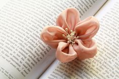 Fabric Flower Hair Clip And Brooch - Bridal Accessories - Wedding Favor - Shell Colour | Luulla