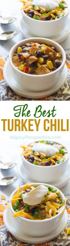 Absolutely The Best Turkey Chili Recipe on ASpicyPerspective.com #thanksgiving #leftovers Chili Recipes, Turkey Recipes, Crockpot Recipes, Soup Recipes, Weeknight Recipes, Fall Recipes, Chicken Recipes, Best Turkey, Thanksgiving Leftovers