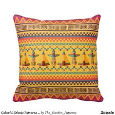 Colorful Ethnic Patterns Throw Pillows