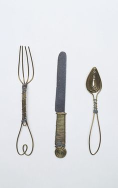 so light-hearted - and wise at he same time, adorable!   Cutlery, Alexander Calder, 1936. Brass, iron, and silver wire