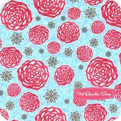 Blue Jay Mums from Finally Free by Caroline Simas for Robert Kaufman Fabrics
