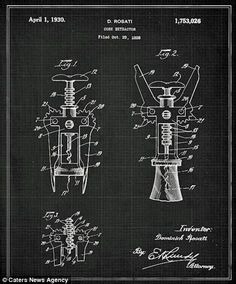 Corkscrew #patent #patentdrawing #drawing #invention #wine