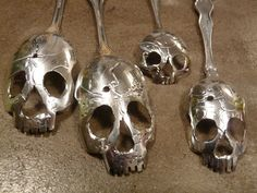 If It's Hip, It's Here: A Macabre Mouthful. Beautiful Silver Skull Spoons By Tom Sale aka Pinky Diablo.