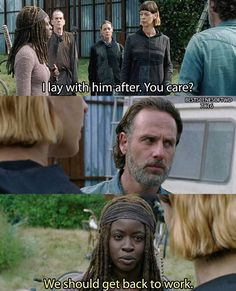 Over my dead body, bitch. Rick And Michonne, Are You Not Entertained, Chandler Riggs, Get Back To Work, Fear The Walking Dead, Beautiful Family, Over The Years, Movie Posters, Fan