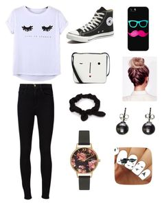 """Geek on Fleek"" by heyitsizzy22 on Polyvore featuring Chicnova Fashion, Frame Denim, Converse, Lulu Guinness, Casetify, NLY Accessories and Olivia Burton"