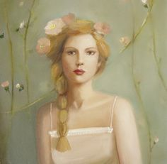 ⊰ Posing with Posies ⊱ paintings & illustrations of women & children with flowers - Janet Hill
