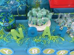 Blue and green 1st birthday party!  See more party ideas at CatchMyParty.com!  #partyideas #1stbirthday