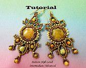 Beading  tutorial instructons - beadweaving pattern beaded seed bead jewelry - PARISIENNES beadwoven earrings