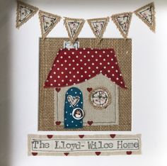 Items similar to New home family frame gift. on Etsy - Rustic personalised new home family frame. Fabric Cards, Fabric Postcards, New Home Cards, New Home Gifts, Free Motion Embroidery, Machine Embroidery Patterns, Bunting Design, Sewing Cards, Fabric Houses