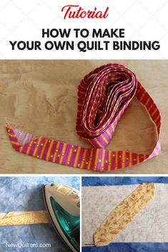 Tutorial showing you how to make your own quilt binding from fabric strips. Quilting For Beginners, Quilting Tips, Quilting Tutorials, Machine Quilting, Quilting Projects, Beginner Quilting, Craft Tutorials, Hand Quilting Patterns, Quilting Designs