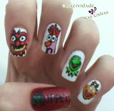 The Muppets Nails design diffrent charters including kermit and many others