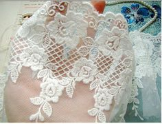 Off White lace trim cotton embroidered roses by WeddingbySophie
