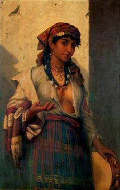 In a rather spooky twist, this woman has shells woven into her hair . . . much like the hat in my books worn by the heroine with shells woven with ribbon. Freaky! Paintings with Roma. Gypsy tambourine